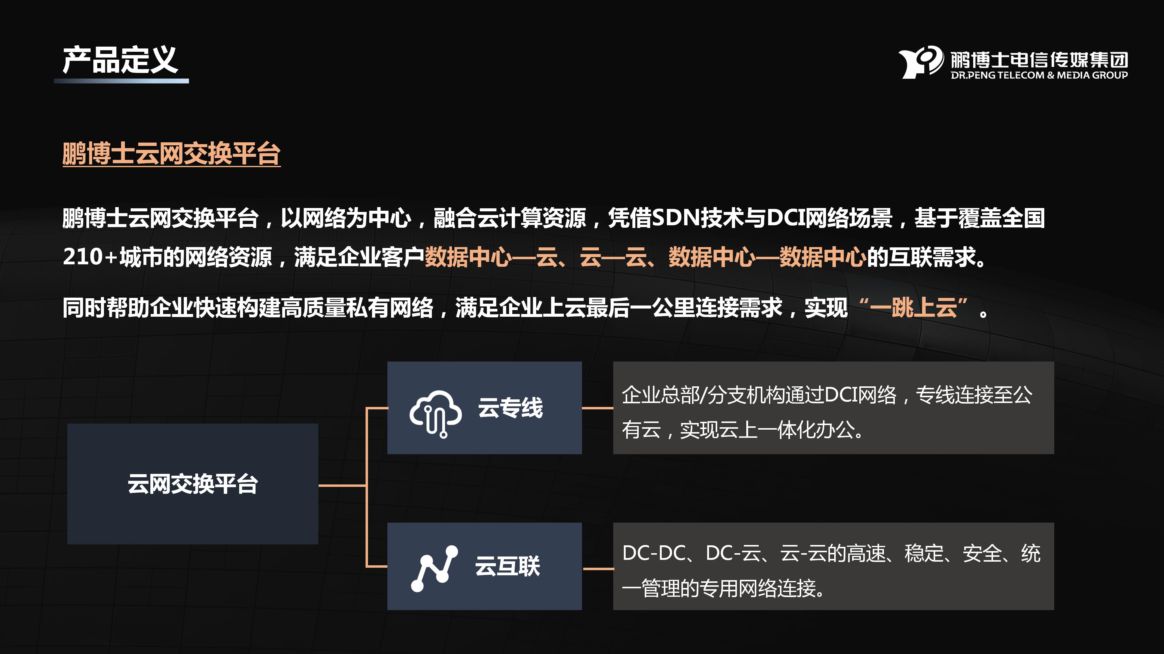 鹏博士同城跨城专线百度云专线(DCI)
